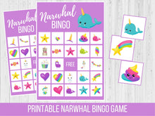 Load image into Gallery viewer, Narwhal BINGO, Family Game Night