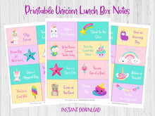 Load image into Gallery viewer, Unicorn Printable Lunch Box Notes, Motivational Love Notes