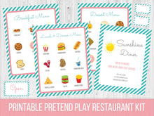 Load image into Gallery viewer, Dramatic Play Restaurant Menu Printable