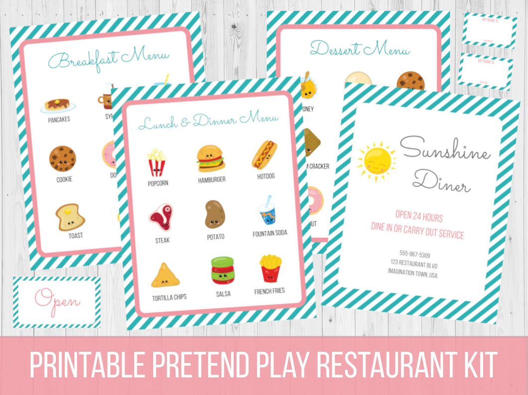 Dramatic Play Restaurant Menu Printable