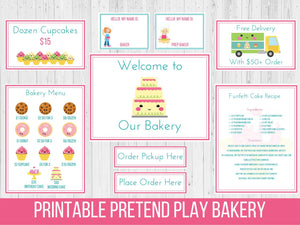 Dramatic Play Bakery Printable