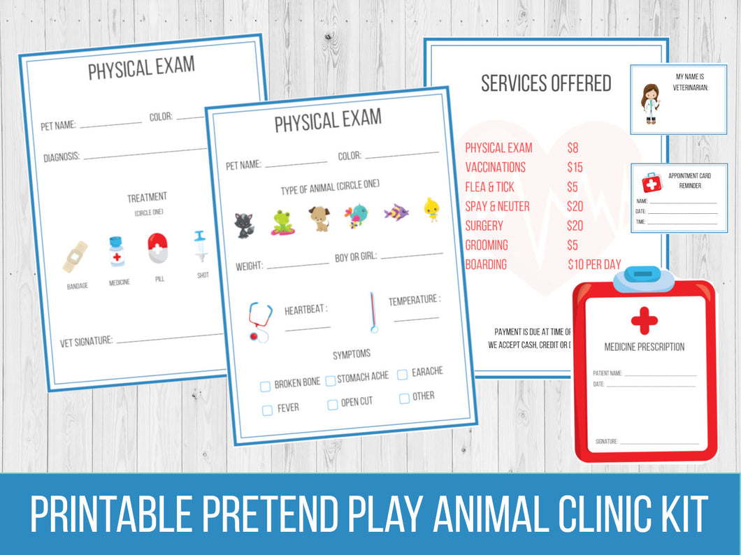 Pretend Play Vet Office Printable