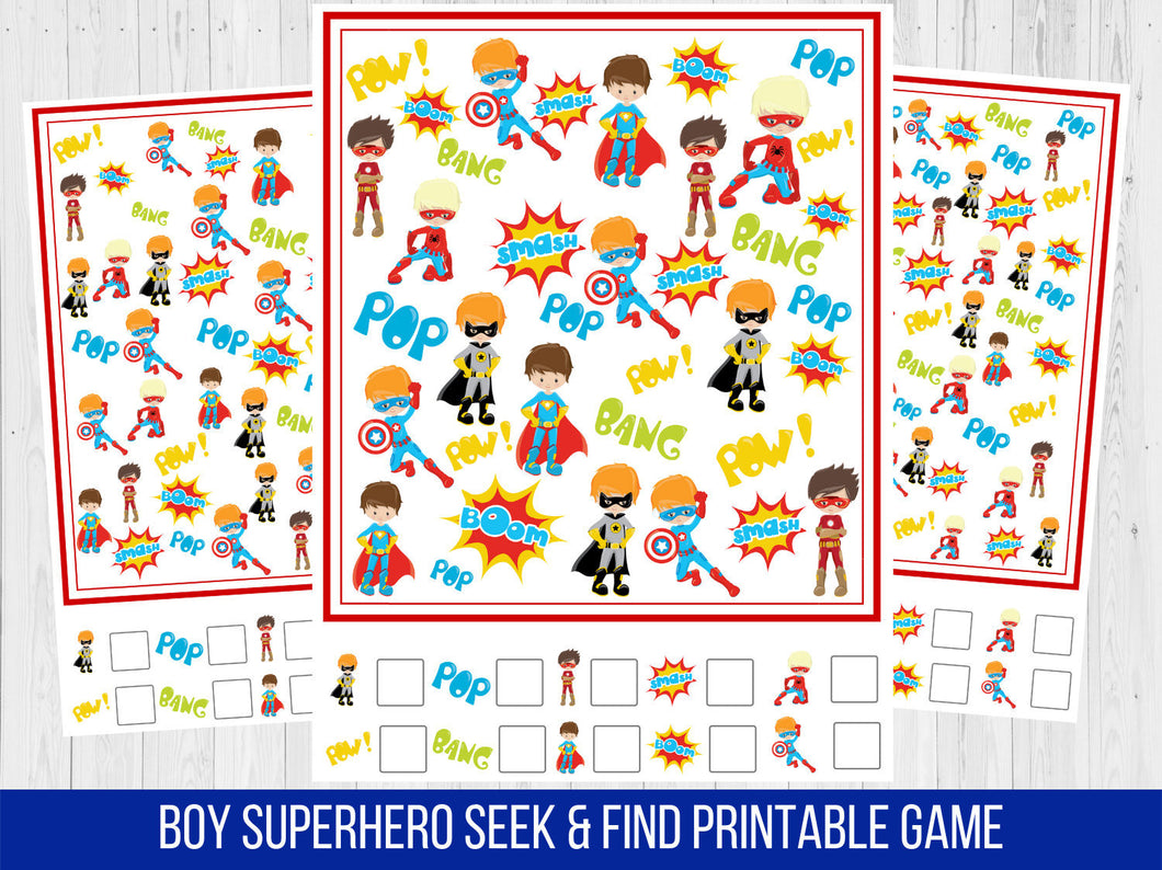 Superhero Boy Seek and Find