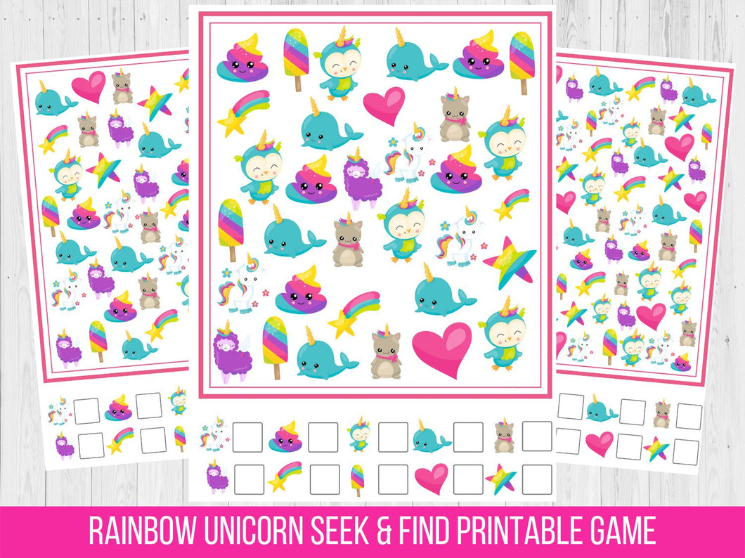 Rainbow Unicorn Seek and Find