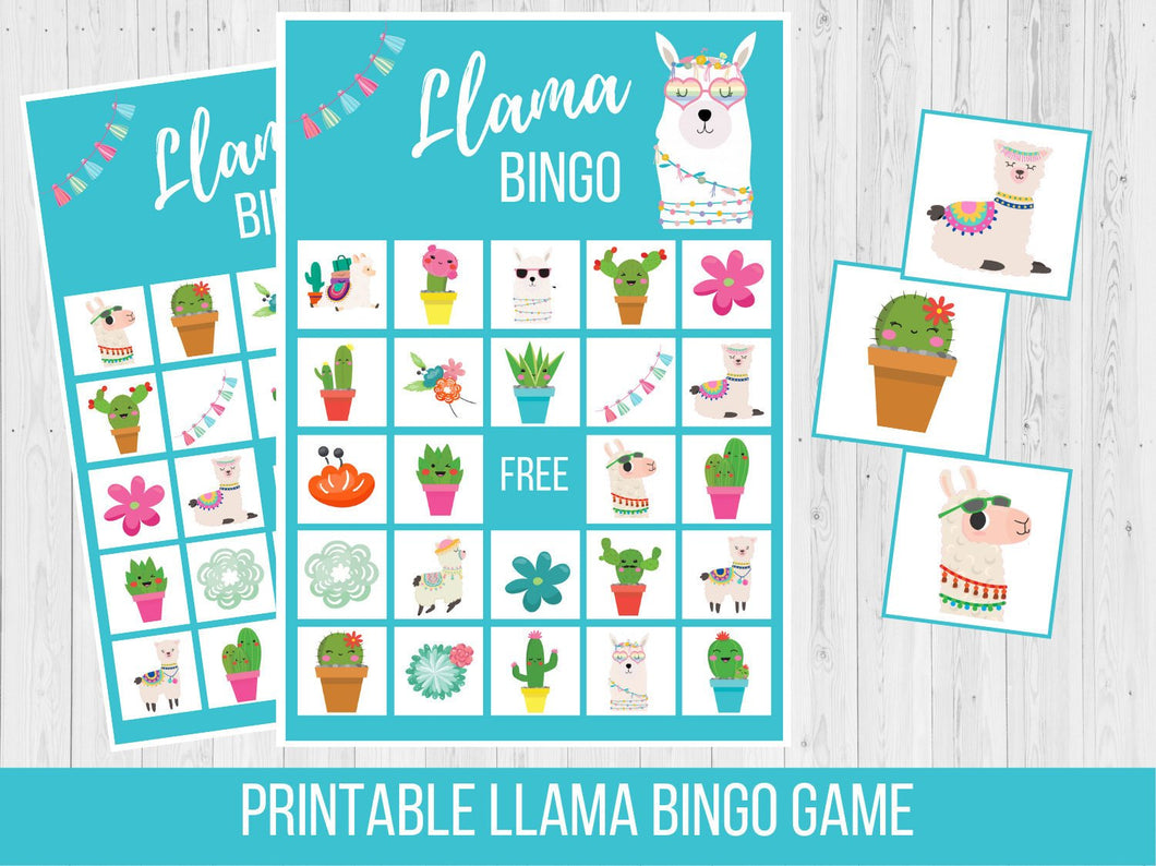 Llama BINGO Birthday Party Game