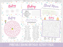 Load image into Gallery viewer, Baking Birthday Activity Pack Printable