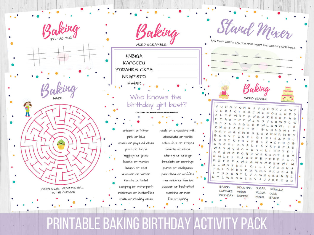 Baking Birthday Activity Pack Printable