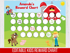 Reward Chart Barnyard Girl, Editable Potty Chart