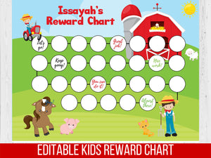 Boy Reward Chart Barnyard, Editable Potty Chart