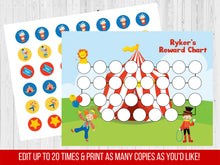 Load image into Gallery viewer, Circus Reward Chart, Editable Potty Chart