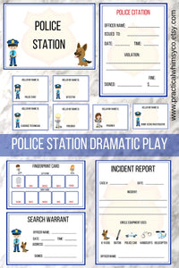 Pretend Play Police Station Printable