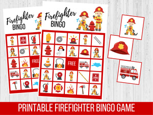 Fire Truck Birthday BINGO Game, Firefighter Theme