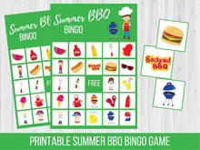 Load image into Gallery viewer, Summer BBQ BINGO Game, Printable Family Game Night Activity