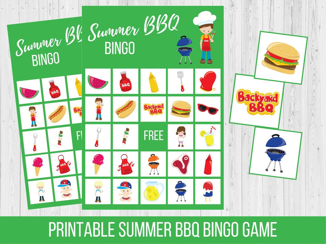 Summer BBQ BINGO Game, Printable Family Game Night Activity