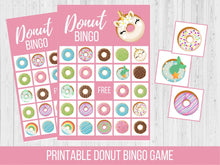 Load image into Gallery viewer, Donut BINGO Birthday Party Game