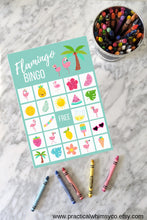 Load image into Gallery viewer, Tropical Flamingo BINGO Birthday Party Game