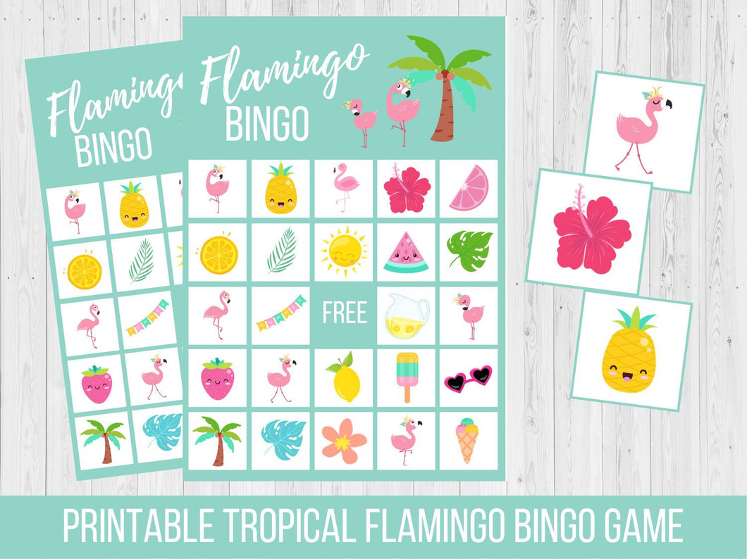 Tropical Flamingo BINGO Birthday Party Game