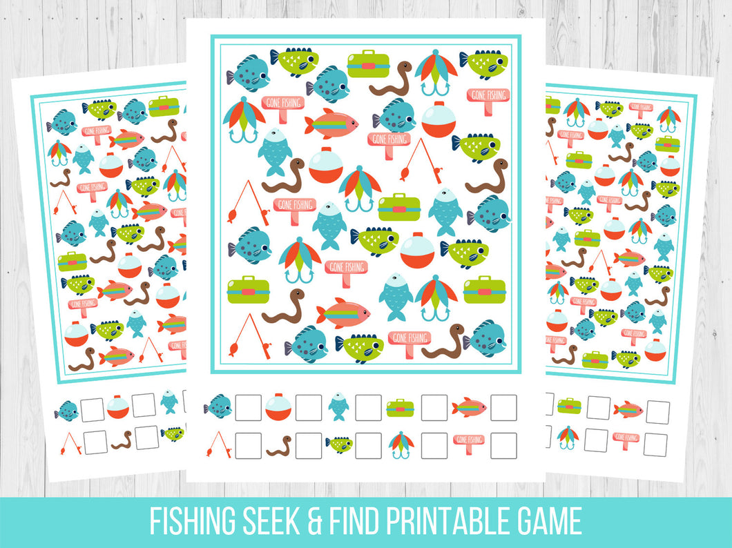 Fishing Birthday Seek and Find Party Game