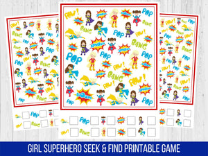 Superhero Girl Seek and Find Birthday Party Game