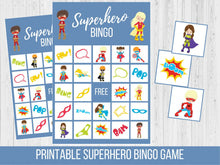Load image into Gallery viewer, Superhero Birthday BINGO Game