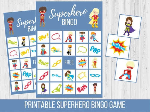 Superhero Birthday BINGO Game
