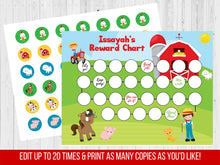 Load image into Gallery viewer, Boy Reward Chart Barnyard, Editable Potty Chart