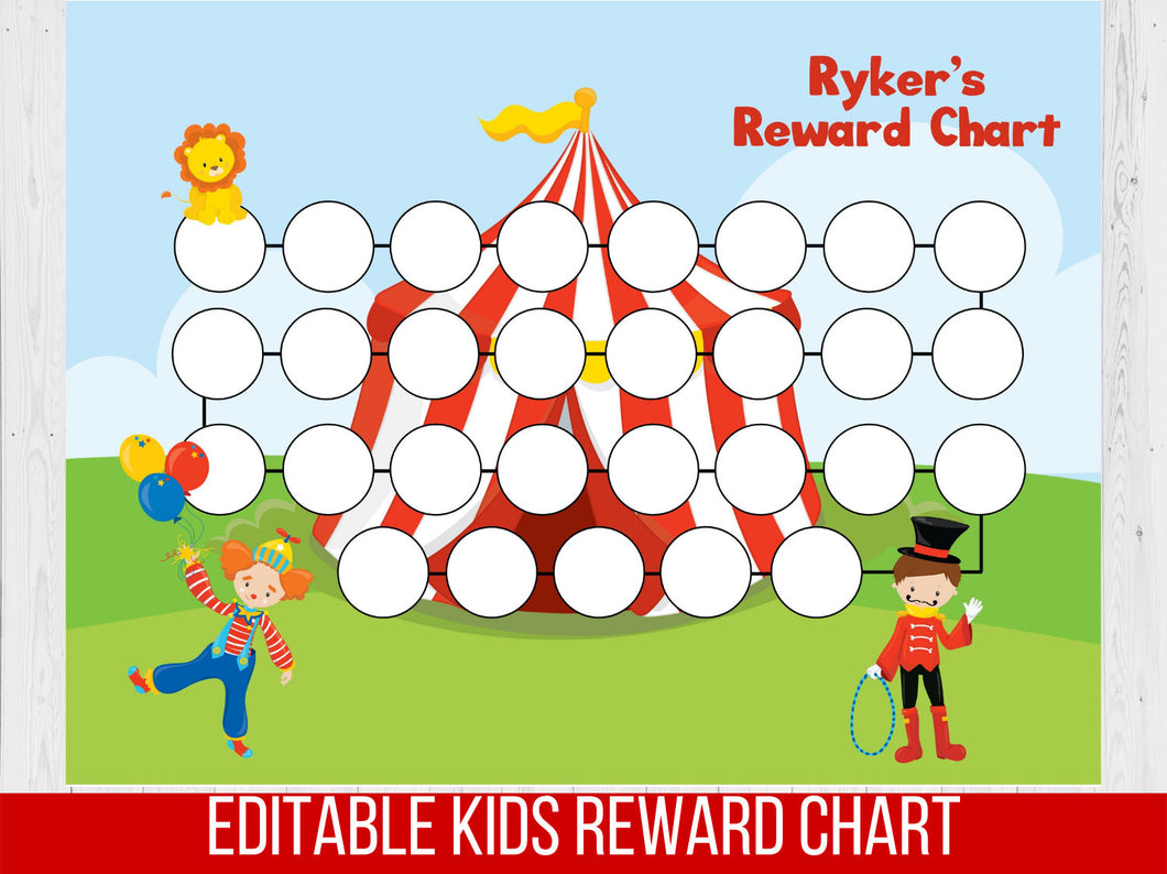 Circus Reward Chart, Editable Potty Chart