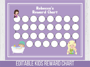 Daily Routine Reward Chart, Editable Habits Tracker