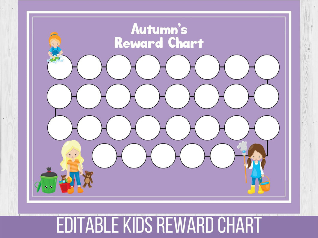 Daily Chores Reward Chart, Editable Habits Tracker