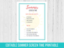 Load image into Gallery viewer, Editable Summer Screen Time Rules Printable