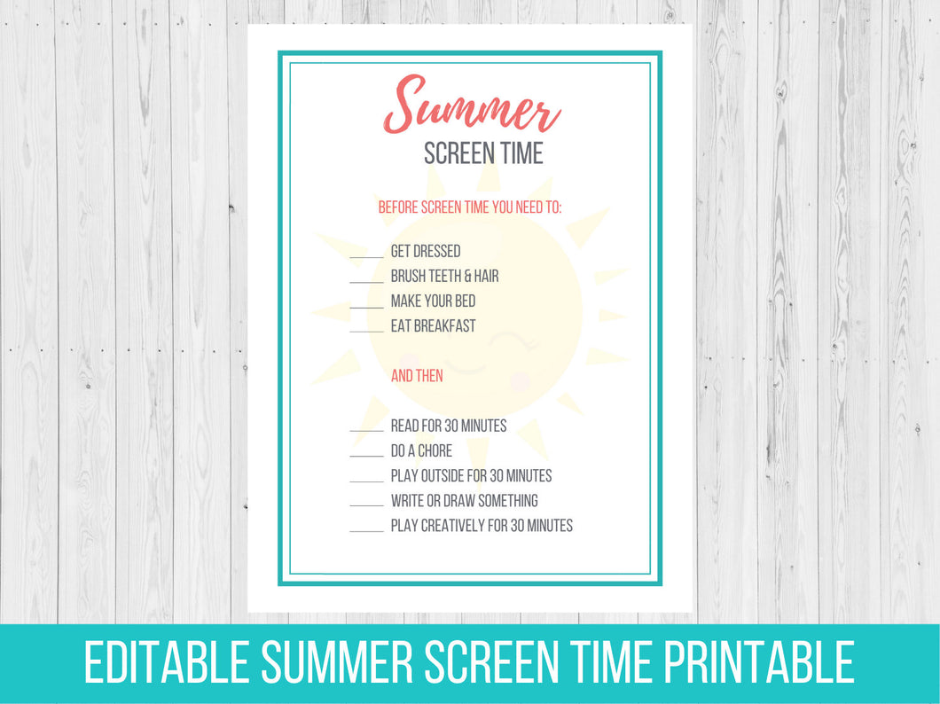 Editable Summer Screen Time Rules Printable