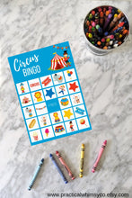 Load image into Gallery viewer, Circus Theme BINGO Cards, Birthday Party Game