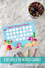 Load image into Gallery viewer, Reward Chart Mermaid Under the Sea, Editable Potty Chart
