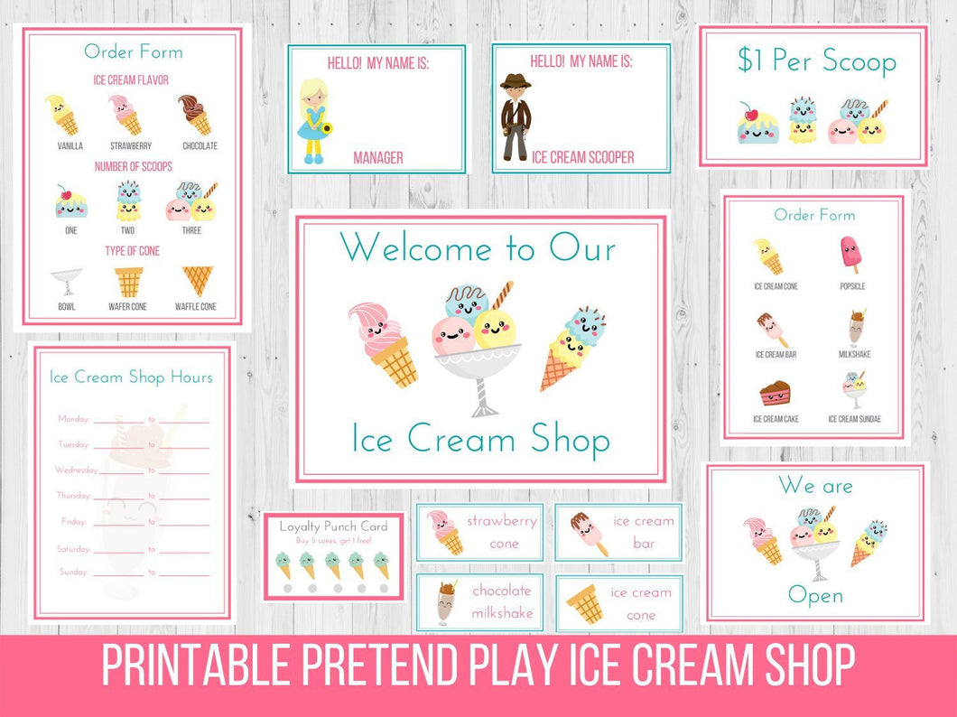 Ice Cream Shop Pretend Play Printable