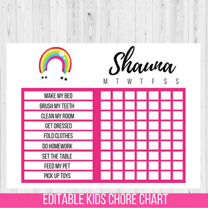 Chore Chart Rainbow, Editable Reward Chart
