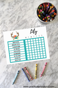 Chore Chart Tribal Antler, Editable Reward Chart
