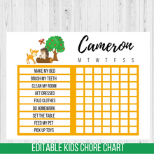 Load image into Gallery viewer, Chore Chart Woodland Animals, Editable Reward Chart