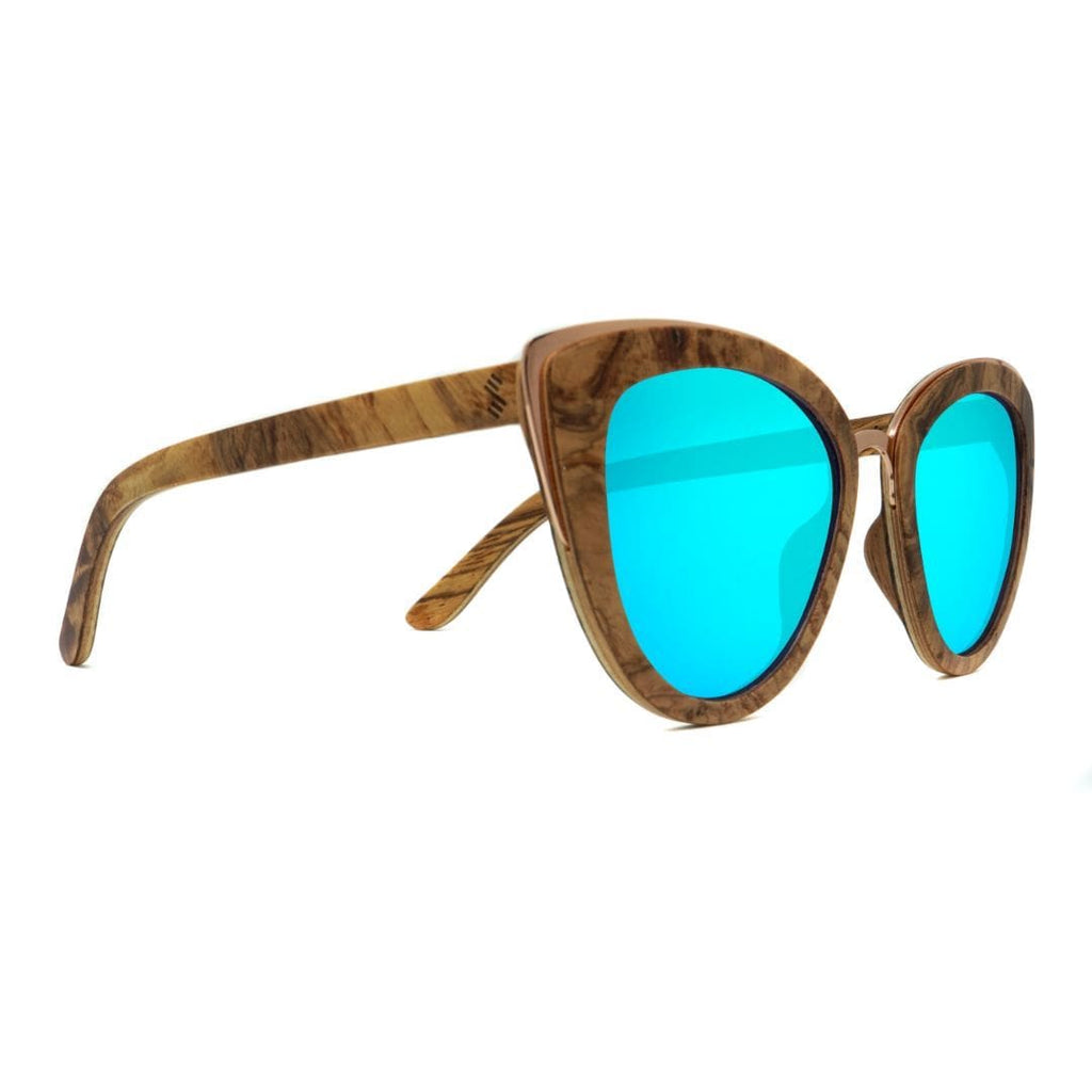 Wooden Sunglasses - Bombshell Ice Blue Lenses - Side