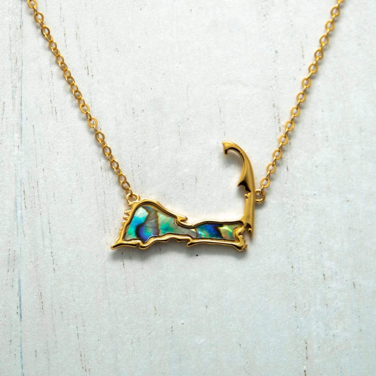Gold Cape Cod Necklace with Abalone Inlay - front