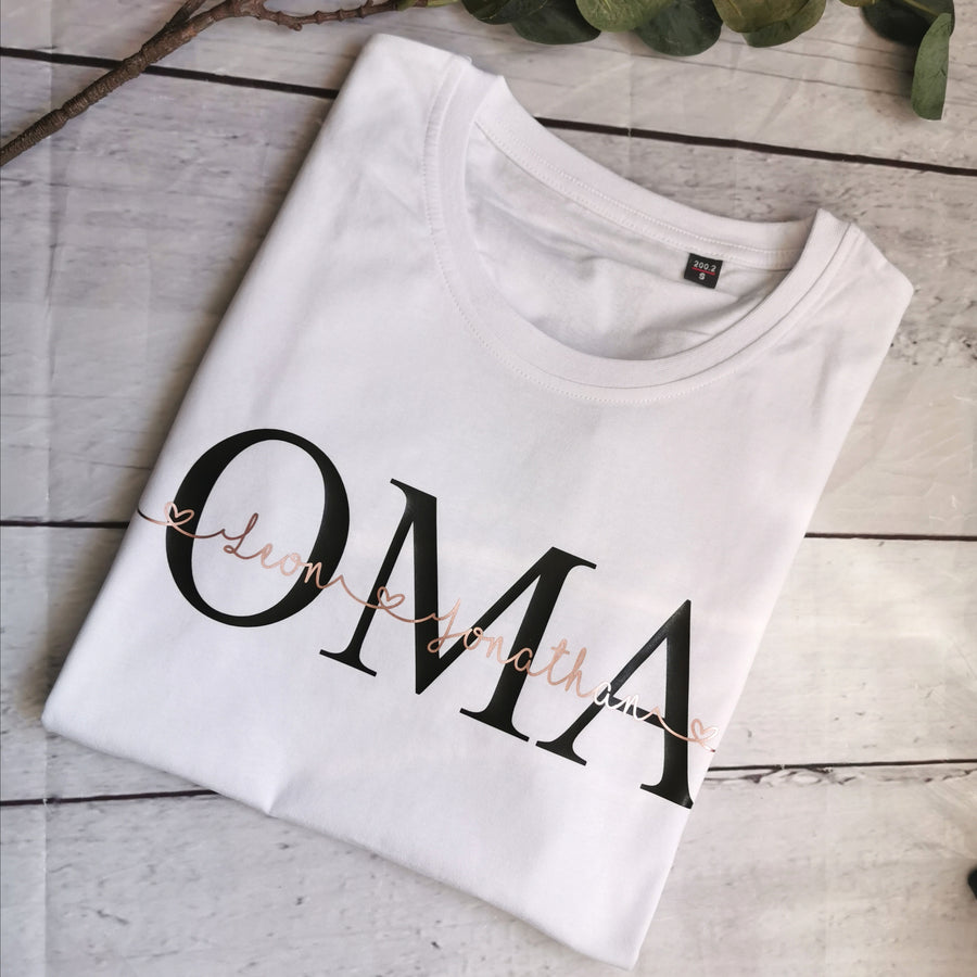 Shirt OMA / OPA personalisiert Wunschname Mom / Dad