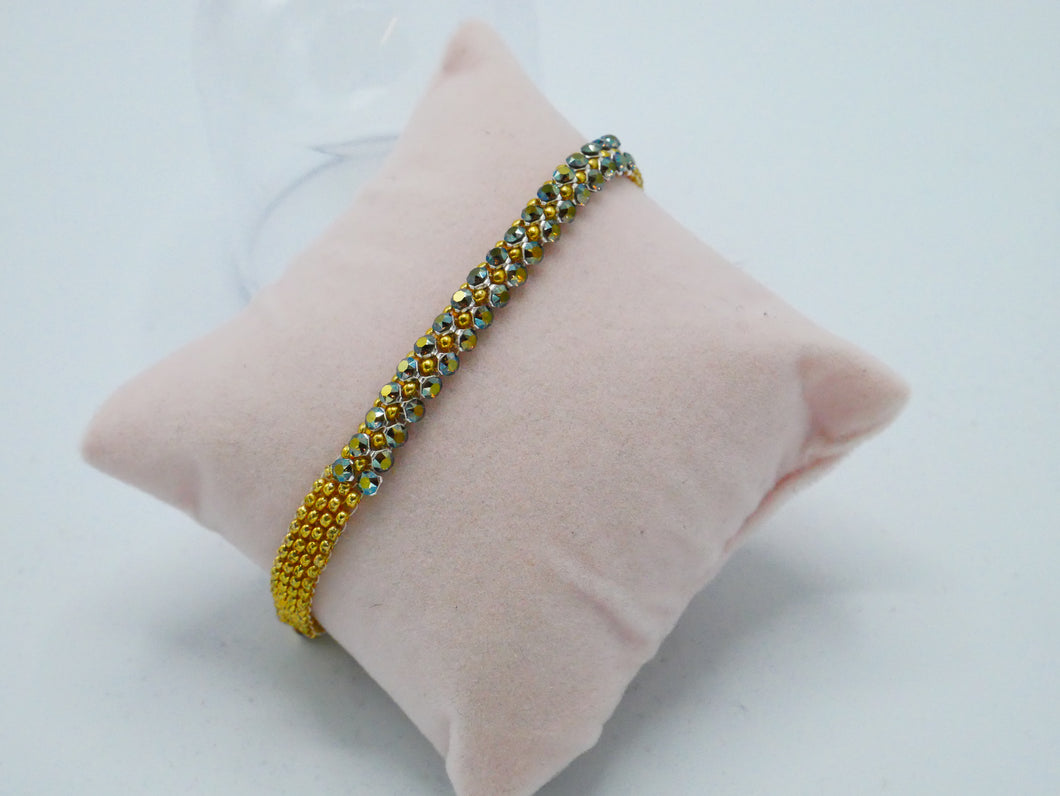 crystal mesh gold/green bracelet