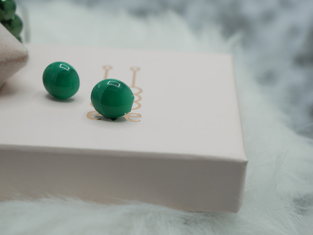 green button oorbel