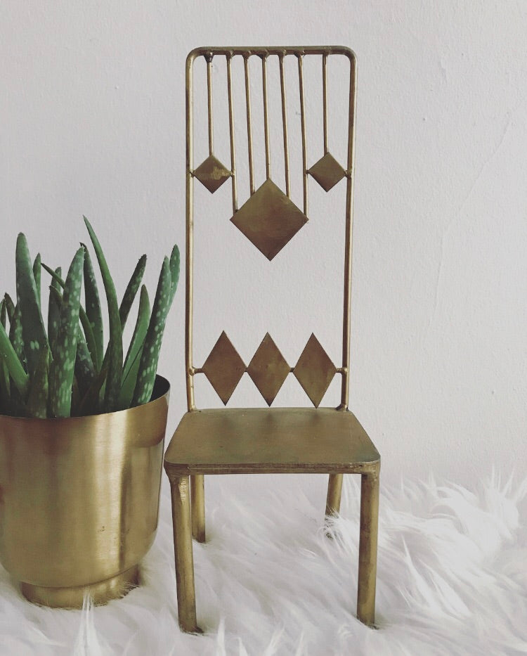 Vintage Brass Chair / Plant Stand
