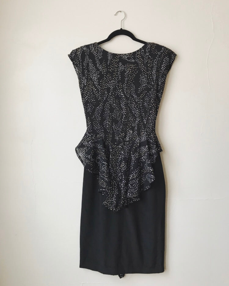 Vintage Beaded Peplum Dress