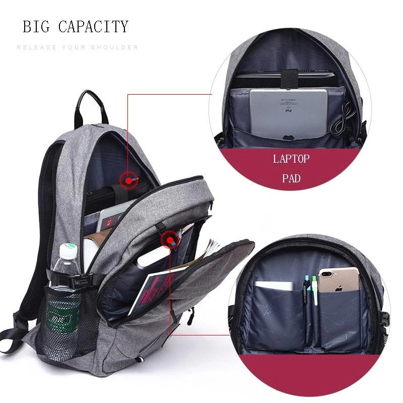 SPORTY GAME CHANGER BACKPACK WITH CONVENIENT CHARGING PORT