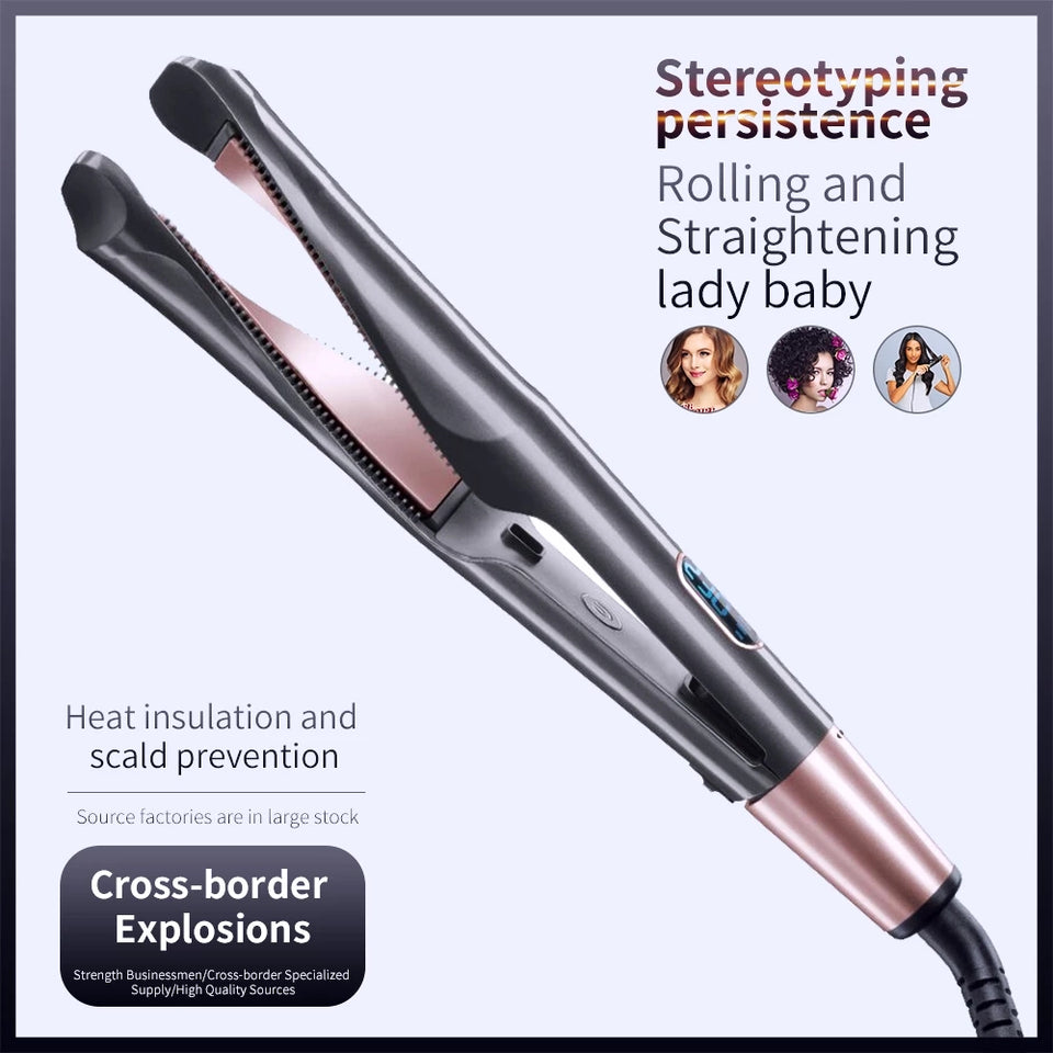 New 2-in-1 twisted hair curler slanting plate straightener device
