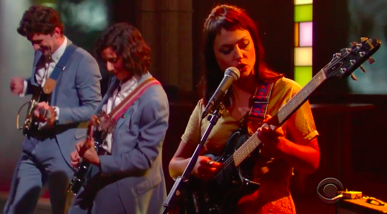 Featured photo for Angel Olsen and her band in Fuzz straps on The Late Show with Stephen Colbert