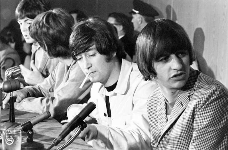 Rare photo from a Beatles interview in Houston, TX in 1965