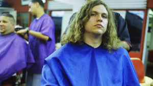Jay Reatard at the barber shop getting his hair cut
