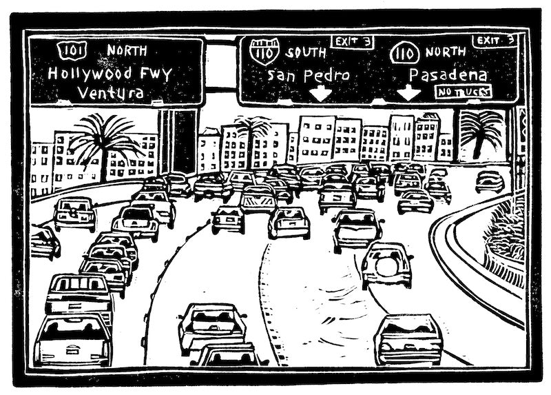 los-angeles-freeway-loren-kantor-woodcuts